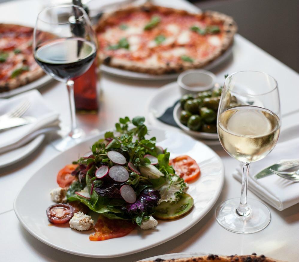 salad with wine